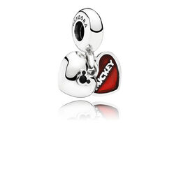 Disney, Charm Pendente Mickey Mouse & Minnie, Argento Sterling 925, Smalto, Nero, Cristallo - PANDORA - #791441NCK