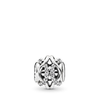 Charm ESSENCE COLLECTION Prendersi Cura, Argento Sterling 925, Silicone, Incolore, Zirconia cubica - PANDORA - #796072CZ
