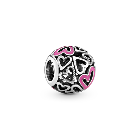 Charm a cuore rosa openwork